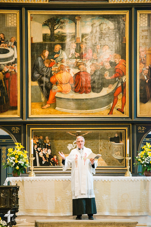 The Rev. Dr. Timothy Quill (right), dean of International Studies and associate professor of Pastoral Ministry and Mission for Concordia Theological Seminary, Fort Wayne., Ind., leads morning Matins at the Town and Parish Church of St. Mary's during the International Conference on Confessional Leadership in the 21st Century in Wittenberg, Germany. LCMS Communications/Erik M. Lunsford