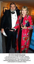 SIR EDDIE KULUKUNDIS and his wife actress SUSAN HAMPSHIRE, at a gala evening on 10th June 2004.PWB 95