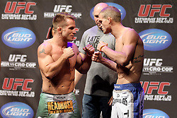 September 24, 2010; Indianapolis, IN; USA;  Sean Sherk and Evan Dunham weigh in for their upcoming bout at UFC 119 at the Conseco Fieldhouse in Indianapolis, IN.