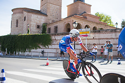 Moniek Tenniglo (NED) of FDJ Nouvelle Aquitaine Futuroscope Team leans into the final corner on Stage 1 of the Madrid Challenge - a 12.6 km team time trial, starting and finishing in Boadille del Monte on September 15, 2018, in Madrid, Spain. (Photo by Balint Hamvas/Velofocus.com)