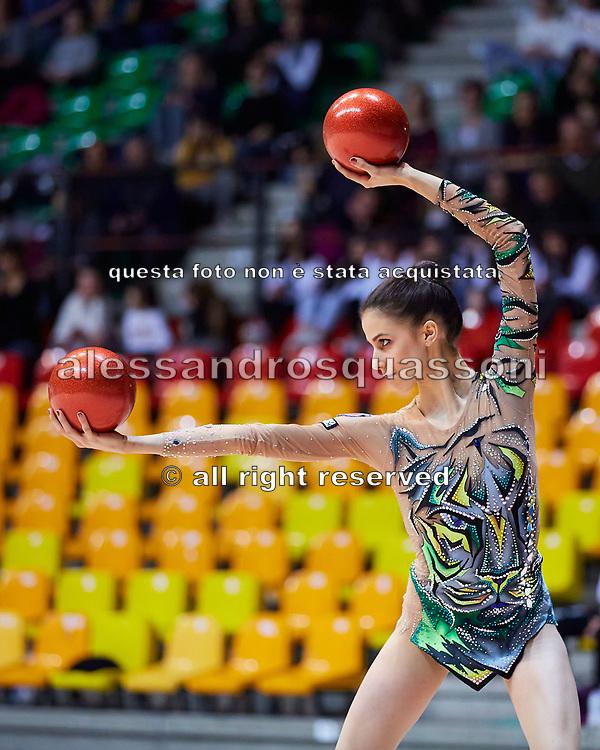 Martina Centofanti of the Italian Rhythmic Gymnastics Team during training in Desio, 08 February 2020.