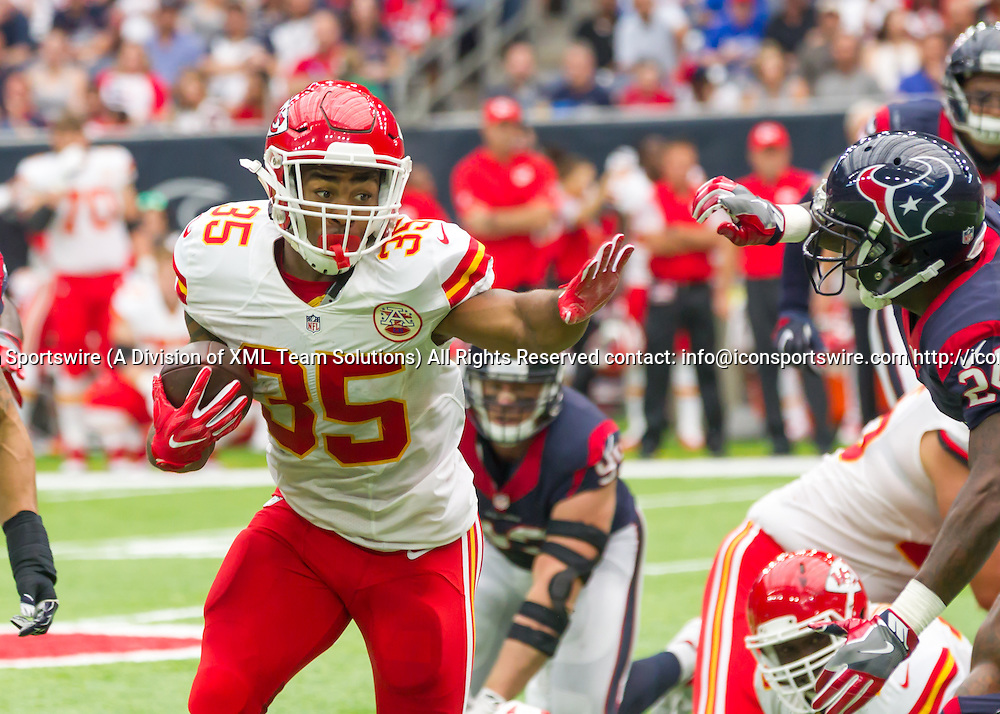 18 September, 2016:  Kansas City Chiefs running back Charcandrick West (35) during the NFL game between the Kansas City Chiefs and Houston Texans at NRG Stadium in Houston, Texas.  (Photograph by Leslie Plaza Johnson/Icon Sportswire)