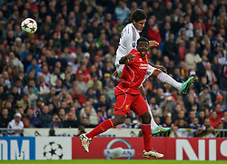 MADRID, SPAIN - Tuesday, November 4, 2014: Liverpool's Kolo Toure in action against Real Madrid during the UEFA Champions League Group B match at the Estadio Santiago Bernabeu. (Pic by David Rawcliffe/Propaganda)