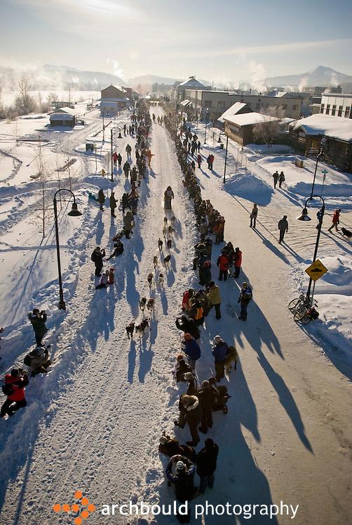 A Yukon Quest dog sled team leaves the start line in Whitehorse en route to Fairbanks, Alaska.
