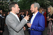 MAT COLLISHAW; CARL FREEDMAN, 2014 Serpentine's summer party sponsored by Brioni.with a pavilion designed this year by Chilean architect Smiljan Radic  Kensington Gdns. London. 1July 2014