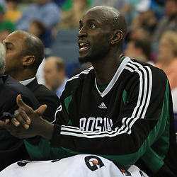 11 February 2009: Boston Celtics forward Kevin Garnett (5) cheers from the bench during a NBA game between the Boston Celtics and the New Orleans Hornets at the New Orleans Arena in New Orleans, LA.