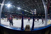 KELOWNA, CANADA - FEBRUARY 23:  the Kamloops Blazers warm up on the ice against the Kelowna Rockets on February 23, 2019 at Prospera Place in Kelowna, British Columbia, Canada.  (Photo by Marissa Baecker/Shoot the Breeze)