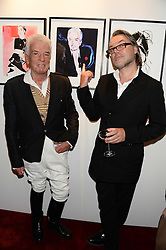 Left to right, NICKY HASLAM and DAVID DOWNTON at a private view of fashion art by David Downton as in-house artist at Caridge's , held at Claridge's Hotel, London on 13th September 2013.