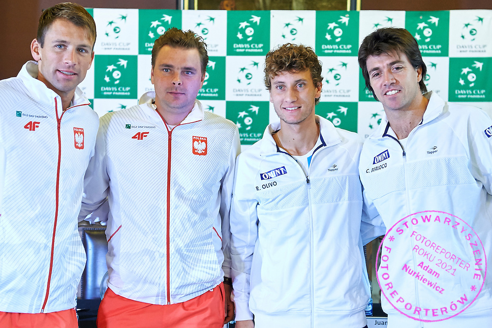 GDANSK, POLAND - 2016 MARCH 03: (L) Lukasz Kubot and Marcin Matkowski both of Poland and (R) Renzo Olivo and Carlos Berlocq both of Argentina pose to the face off picture after official draw while press conference one day before the Davies Cup / World Group 1st round tennis match between Poland and Argentina at Ergo Arena on March 3, 2016 in Gdansk, Poland<br /> <br /> Picture also available in RAW (NEF) or TIFF format on special request.<br /> <br /> Any editorial, commercial or promotional use requires written permission.<br /> <br /> Mandatory credit:<br /> Photo by &copy; Adam Nurkiewicz / Mediasport