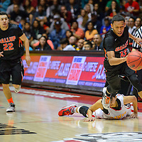 031415  Adron Gardner/Independent<br /> <br /> Gallup Bengal Cody Tabaha (13) sprints from a Centennial Hawk during a 5A New Mexico state basketball tournament final at The Pit in Albuquerque Saturday.