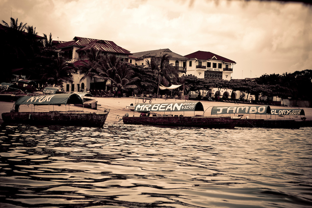 Boats used to transfer tourists from Stonestown, Zanzibar to neighboring islands.