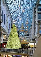 Stock photo of Christmas decoration in a shopping mall Toronto Eaton Centre One of the largest shopping malls in North America Toronto Ontario Canada Dec 2007
