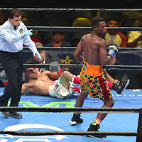 Richard Commey knocks down Yardley Cruz in the first round during a Premier Boxing Champions fight on Saturday, August 4, 2018 at the Nassau Veterans Memorial Coliseum in Uniondale, New York.  (Alex Menendez via AP)