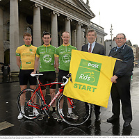 29 January 2014; In attendance at the launch of the 2014 An Post Rás are, from left, Irish riders, Connor McConvey, Ronan McLaughlin and Roger Aiken with Donal Connell, Chief Executive, An Post and newly appointed Rás Director Tony Campbell. The race will begin on Sunday May 18th, in Dunboyne, Co. Meath, and finish on Sunday May 25th, in Skerries, Co. Dublin. An Post Rás 2014 Launch, GPO, O'Connell Street, Dublin. Picture credit: Brendan Moran / SPORTSFILE