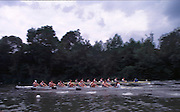 Henley Royal Regatta  28th June to 2 July 2000, Molesey M8+ moving away from the start by Temple Island Rowing Course: Henley Reach 2000 Henley Royal Regatta, Henley.UK