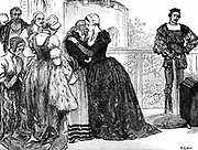 Anne Boleyn (c1504-1536) second wife of Henry VIII of England: mother of Elizabeth I: found guilty of high treason on grounds of adultery: charges almost certainly fabricated. Anne taking leave of her ladies before her execution at Tower of London.  Wood engraving c1880.
