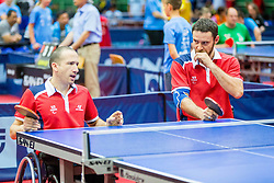 (Team FRA) SAVANT-AIRA Nicolas and DELARQUE Alexandre in action during 15th Slovenia Open - Thermana Lasko 2018 Table Tennis for the Disabled, on May 11, 2018 in Dvorana Tri Lilije, Lasko, Slovenia. Photo by Ziga Zupan / Sportida