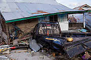 Houses near the waterfront of Talise beach were destroyed when a 7.5 earthquake magnitude hit off the coast of Donggala, Palu Sulawesi Central, Indonesia on Sept. 28th causing a tsunami.