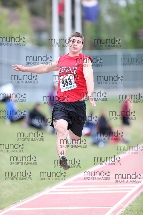 Jordan Strickland of Keswick HS - Keswick competes in the senior boys long jump at the 2013 OFSAA Track and Field Championship in Oshawa Ontario, Thursday,  June 6, 2013.<br /> Mundo Sport Images / Sean Burges