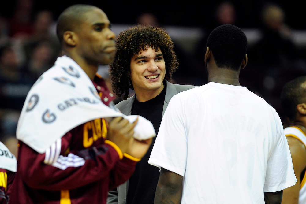 Feb. 5, 2011; Cleveland, OH, USA; Cleveland Cavaliers power forward Anderson Varejao (17) who is out for the rest of the season with an injury talks with teammates during the second quarter against the Portland Trail Blazers at Quicken Loans Arena. Mandatory Credit: Jason Miller-US PRESSWIRE