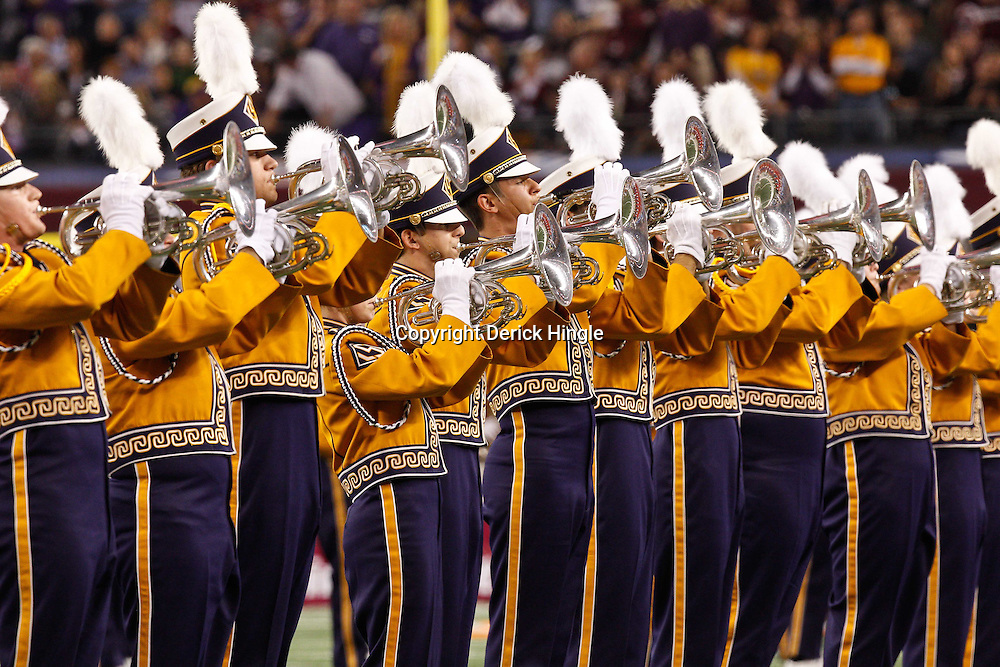 Jan 7, 2011; Arlington, TX, USA; The LSU Tigers band performs prior to kickoff of the 2011 Cotton Bowl against the Texas A&M Aggies at Cowboys Stadium.  Mandatory Credit: Derick E. Hingle