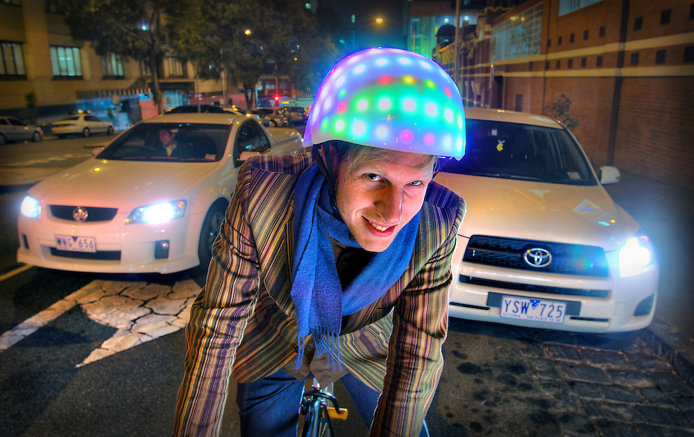 Wouter Walmink is an RMIT student who has invented a bycicle helmet with coloured lights that can adjust it's colours to his riding, for example it can indicate turns when he tilts his head. Pic By Craig Sillitoe CSZ/The Sunday Age.8/06/2012 melbourne photographers, commercial photographers, industrial photographers, corporate photographer, architectural photographers, This photograph can be used for non commercial uses with attribution. Credit: Craig Sillitoe Photography / http://www.csillitoe.com<br /> <br /> It is protected under the Creative Commons Attribution-NonCommercial-ShareAlike 4.0 International License. To view a copy of this license, visit http://creativecommons.org/licenses/by-nc-sa/4.0/.