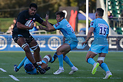 Saracens lock Will Skelton (5) resists challenges from Worcester Warriors right wing Dean Hammond (14) and Worcester Warriors full-back Nick David (15) during the Premiership Rugby Cup match between Saracens and Worcester Warriors at Allianz Park, Hendon, United Kingdom on 11 November 2018.