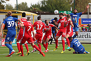 Scramble in the box during the EFL Sky Bet League 1 match between AFC Wimbledon and Scunthorpe United at the Cherry Red Records Stadium, Kingston, England on 15 September 2018.
