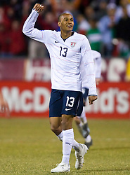 United States midfielder Ricardo Clark (13) celebrates after a USA goal.  The United States men's soccer team defeated the Mexican national team 2-0 in CONCACAF final group qualifying for the 2010 World Cup at Columbus Crew Stadium in Columbus, Ohio on February 11, 2009.