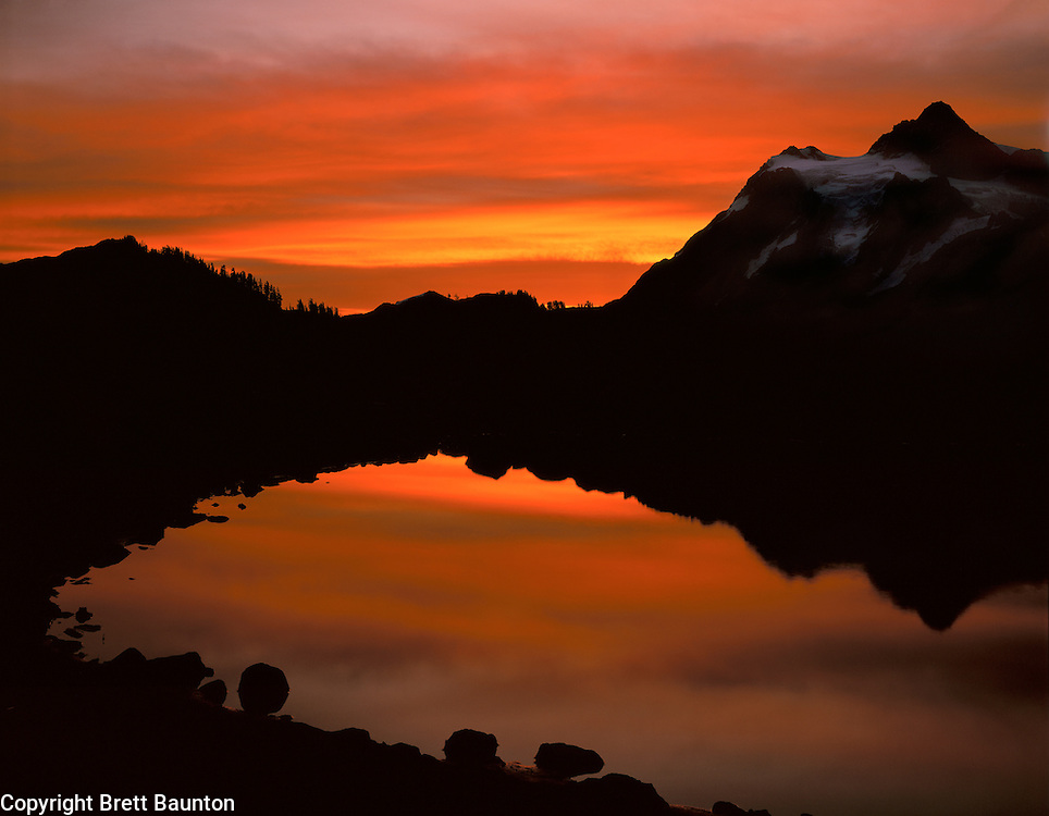Mt. Shuksan, WA, USA  9,127 ft..Mt. Shuksan in North Cascades National Park..Sunrise reflection in pond from Mt. Baker Wilderness..Brett Baunton