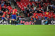 Spain midfielder Isco (22) celebrating scoring 2-2 during the Friendly match between England and Spain at Wembley Stadium, London, England on 15 November 2016. Photo by Matthew Redman.