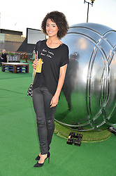 NATHALIE EMMANUEL at the launch of the Orangina Boulers Rooftop Petanque held on the top floor of the Stratford Multistorey Car Park, Great Eastern Way, London E15 on 26th August 2015.