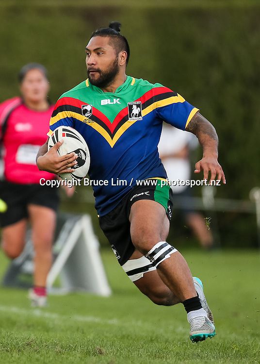 Wai-Coa-Bay Stallions centre Tamatoa Karora-Reu makes a break during the NZRL Premiership rugby league match - Wai-Coa-Bay Stallions v Akarana Falcons at Resthills Park, Hamilton on Saturday 19 September 2015. <br /> <br /> Copyright Photo:  Bruce Lim / www.photosport.nz