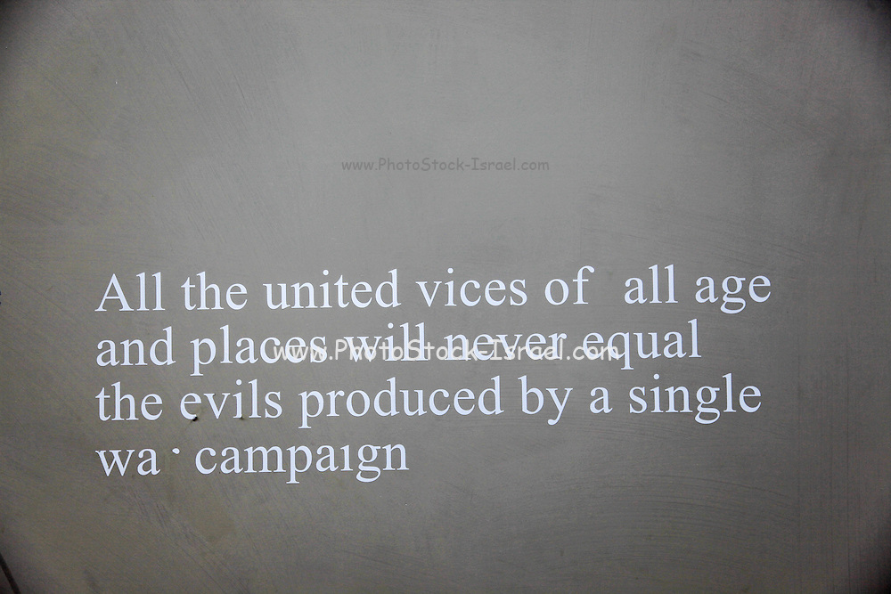 "A quote from ""War"" by Voltaire, All the united vices of all ages and places will never equal the evils produced by a single campaign. inside the Camposanto Monumentale cemetery. Pisa, Tuscany, Italy."
