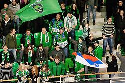 Fans of Olimpija celebrate during ice-hockey match between HDD Tilia Olimpija and EHC Liwest Black Wings Linz at fourth match in Semifinal  of EBEL league, on March 13, 2012 at Hala Tivoli, Ljubljana, Slovenia. (Photo By Matic Klansek Velej / Sportida)