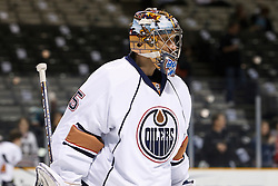 January 13, 2011; San Jose, CA, USA; Edmonton Oilers goalie Nikolai Khabibulin (35) warms up before the game against the San Jose Sharks at HP Pavilion.  Edmonton defeated San Jose 5-2. Mandatory Credit: Jason O. Watson / US PRESSWIRE