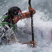 Mike Dawson, New Zealand, in action during the Kayak Single (K1) Men Final during the Canoe Slalom competition at Lee Valley White Water Centre during the London 2012 Olympic games. London, UK. 1st August 2012. Photo Tim Clayton