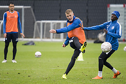 November 12, 2018 - Gent, BELGIUM - Eric Smith and Gent's Jean-Luc Diarra Mamadou Dompe fight for the ball during a training session of Belgian soccer team KAA Gent, Monday 12 November 2018, in Gent. BELGA PHOTO JASPER JACOBS (Credit Image: © Jasper Jacobs/Belga via ZUMA Press)