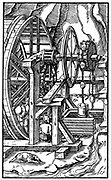 Rag-and-chain pump for draining a mine operated by men in treadmill. From Agricola (George Bauer) 'De re metallica', Basle, 1556.