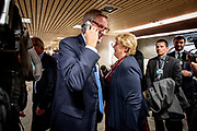 Former Swedish Prime Minister Carl Bildt and Norwegian Prime Minister Erna Solberg at the World Economic Forum in Davos.