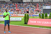 Usain Bolt (JAM), who is retiring at the end of the 2017 season, is recognized during the 56th Ostrava Golden Spike in an IAAF World Challenge meeting at Mestky Stadion in Ostrava, Czech Republic on Wednesday, June 28, 20017. (Jiro Mochizuki/Image of Sport)