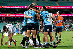 March 23, 2019 - Sydney, NSW, U.S. - SYDNEY, NSW - MARCH 23: Waratahs players congratulate Waratahs player Israel Folau (15) on his try at round 6 of Super Rugby between NSW Waratahs and Crusaders on March 23, 2019 at The Sydney Cricket Ground, NSW. (Photo by Speed Media/Icon Sportswire) (Credit Image: © Speed Media/Icon SMI via ZUMA Press)