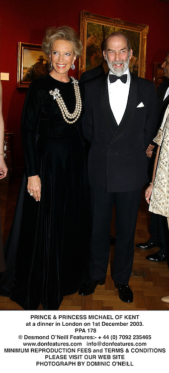 PRINCE & PRINCESS MICHAEL OF KENT at a dinner in London on 1st December 2003.<br /> PPA 178