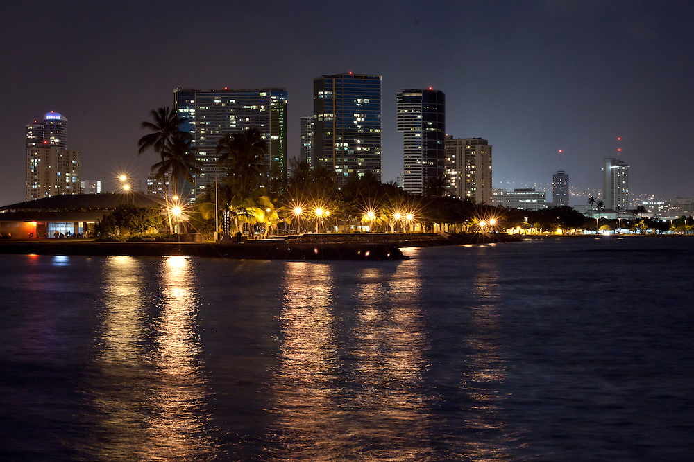 Night skyline in Honolulu