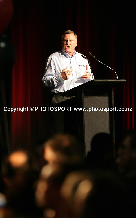 Vodafone Warriors director of football John Hart at the pre match dinner function prior to the start of the match between the Vodafone Warriors and the Penrith Panthers at Mt Smart Stadium, Auckland on Friday 22 June 2007. Photo: Andrew Cornaga/PHOTOSPORT<br />