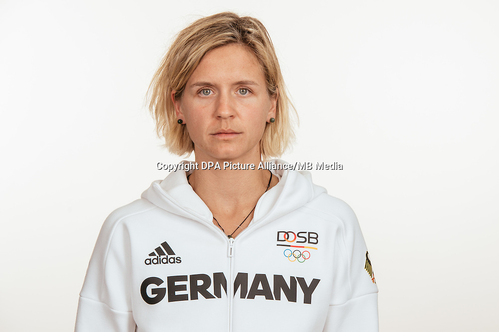 Laura Ludwig poses at a photocall during the preparations for the Olympic Games in Rio at the Emmich Cambrai Barracks in Hanover, Germany, taken on 19/07/16 | usage worldwide