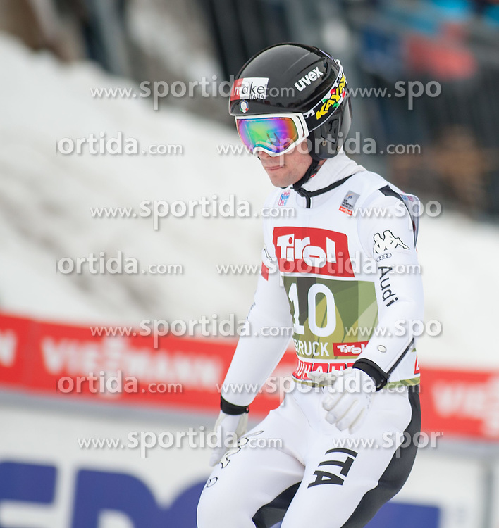 03.01.2015, Bergisel Schanze, Innsbruck, AUT, FIS Ski Sprung Weltcup, 63. Vierschanzentournee, Innsbruck, Qalifikations-Sprung, im Bild Federico Cecon (ITA) // Federico Cecon of Italy reacts after his qualification jump for the 63rd Four Hills Tournament of FIS Ski Jumping World Cup at the Bergisel Schanze in Innsbruck, Austria on 2015/01/03. EXPA Pictures © 2015, PhotoCredit: EXPA/ Jakob Gruber