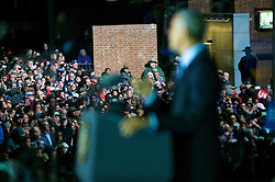 US President Barack Obama on stage at stage at the final rally of Democratic Presidential candidate Hillary Clinton, on November 7, 2016, at Independence Hall, in Philadelphia, PA., USA. The same city her campaign started in, also provides the final stage for Clinton as she is joined by her family and Michelle and Barrack Obama.
