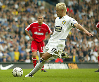 Photo Aidan Ellis.<br /> Digitalsport<br /> NORWAY ONLY<br /> <br /> Leeds United v Charlton Athletic.<br /> FA Barclaycard Premiership.<br /> 08/05/2004.<br /> Leeds Alan Smith scores the third goal from the spot