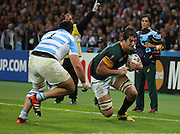 South Africa's Eben Etzebeth on his way to scoring a try during the Rugby World Cup Bronze Final match between South Africa and Argentina at the Queen Elizabeth II Olympic Park, London, United Kingdom on 30 October 2015. Photo by Matthew Redman.